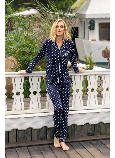 Anıl Puantiyeli Viskon Düğmeli Gömlek Pijama Takım Lacivert
